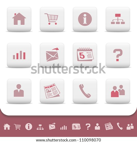 Professional web icons on white buttons. Vector set 1. Home, shopping cart, info, site map, chart, email, calendar, question, profile, avatar, news paper, telephone, contact, people, network symbols - stock vector