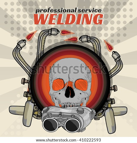 Professional welding skull sticker welder pop art vector illustration