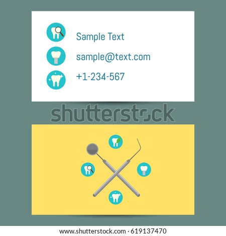 Professional white yellow business card template stock vector professional white and yellow business card template for dentists with round teeth icons and dentist equipment cheaphphosting Gallery