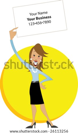 Professional white woman holding white sign with yellow background - stock vector
