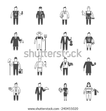 Professionals cartoon characters black icons set of reporter bishop teacher worker lawyer musician abstract isolated vector illustration
