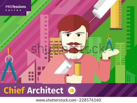 Professions concept with male chief architect with compasses in hand on industrial background - stock vector