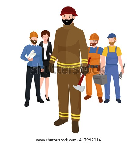 Professions firefighter man. Worker peoples team isolated vector illustration - stock vector