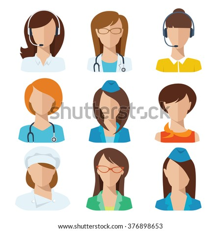Professions flat vector characters. Female avatars.