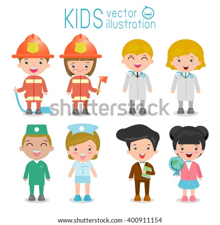 professions for kids,set of cute professions for kids isolated on white background , firefighters, doctor,nurse, teacher,male nurse, Professions of child , Children's dream jobs, Vector Illustration