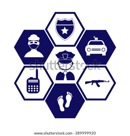 Professions. Policeman and fire-fighter. People at work. Set. Vector icon. Vector illustration. Background. Eps 10 and Jpeg. Police symbol and image. Police sign. Information picture. - stock vector