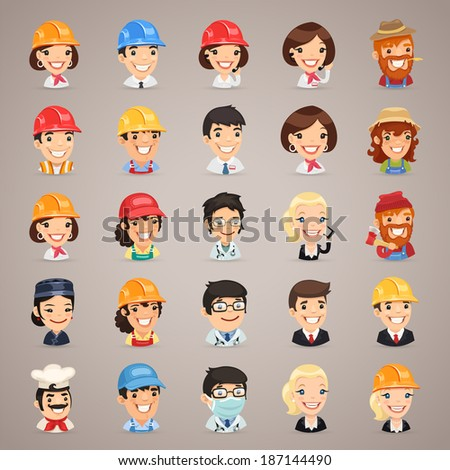 Professions Vector Characters Icons Set1.3 In the EPS file, each element is grouped separately. - stock vector