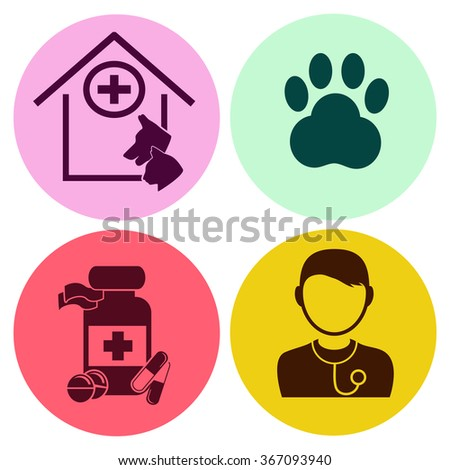 Professions. Vet. Doctor. Medical. People at work. Set. Vector icon. - stock vector