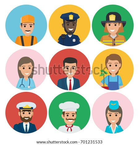 Professions web buttons vector illustrations. Plumber near policeman, firefighter with doctor, businessman gardener and captain, chef and stewardess
