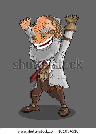professor cartoon - stock vector