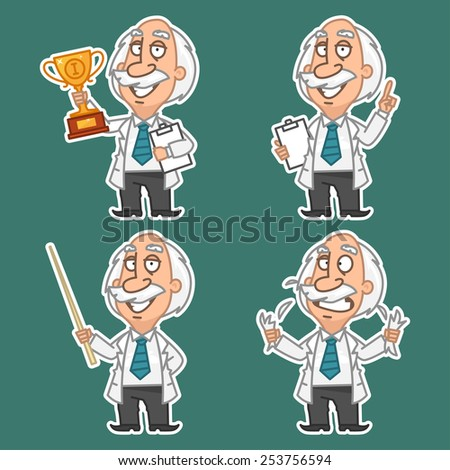 Professor in various poses set stickers 1 - stock vector