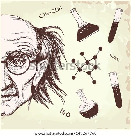 professor of chemistry  - stock vector