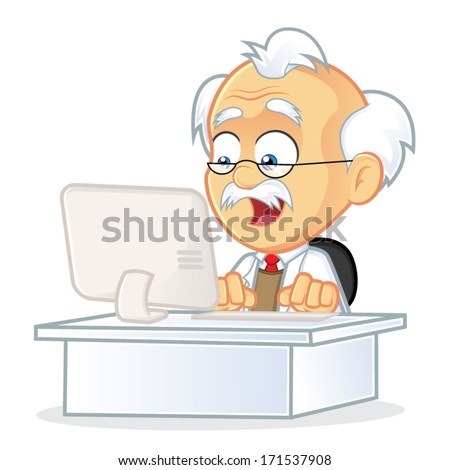 Professor Sitting in Front of a Computer - stock vector