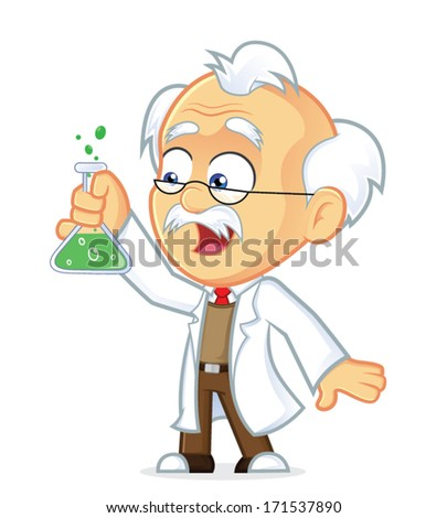 Professor with Lab Glass - stock vector