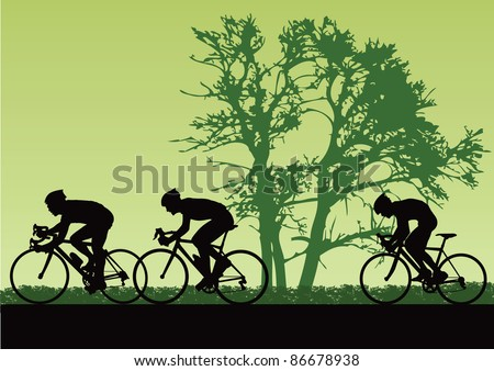 Proffesional cyclists. Vector illustration - stock vector