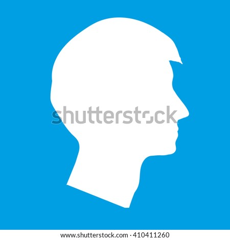 Profile face vector illustration Profile head Male profile Silhouette profile blue avatar