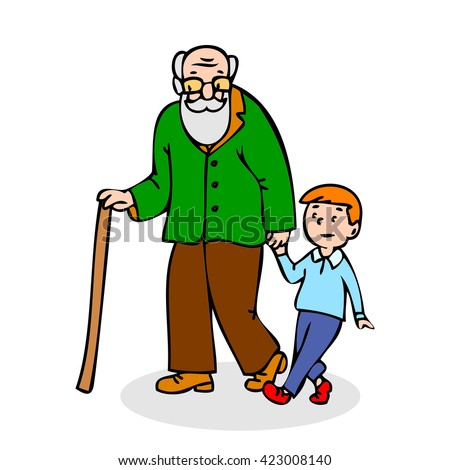 Profile grandchild isolated stick two fun boy adult vector caricature male character grandfather outside old drawing elder walk portrait beard funny support elderly illustration pension lifestyle  - stock vector