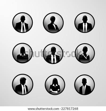 profile icon business set male and female portrait silhouette - stock vector