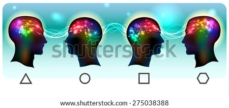 Profile of a human head with a colorful symbol of neurons and mental waves in the brain  - stock vector