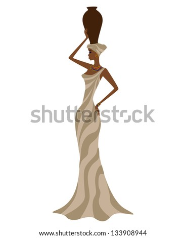 Profile of beautiful african girl with a pitcher on her head, isolated on white background - stock vector