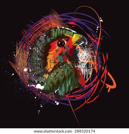Profile of bird on black background - stock vector
