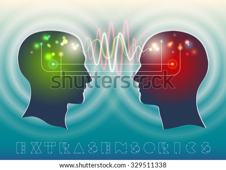 Profile of human head with a beautiful symbol of the psychic and mental waves in the brain as a means of communication - stock vector