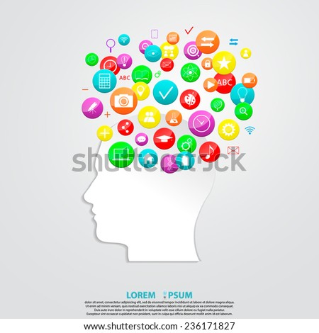 profile of human head with social media icons. social media concept