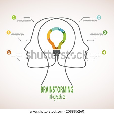 Profile of human heads with lightbulb in the middle. Concept of business idea and brainstorming infographics - stock vector