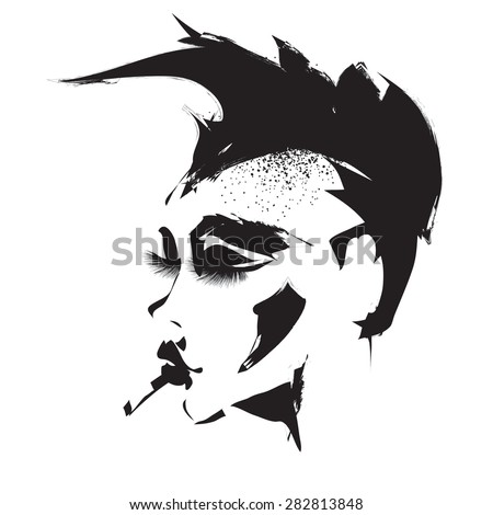 Profile of punk girl - stock vector