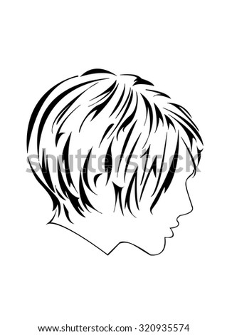 Profile of women with elegant short haircut. Can be used as part of hairdressing salon or barber shop sign