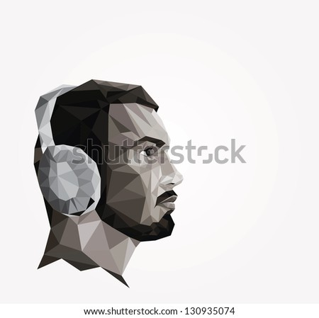 Profile of young man made of triangles, origami style - stock vector