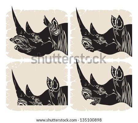 Profile rhinoceros head, vector - stock vector