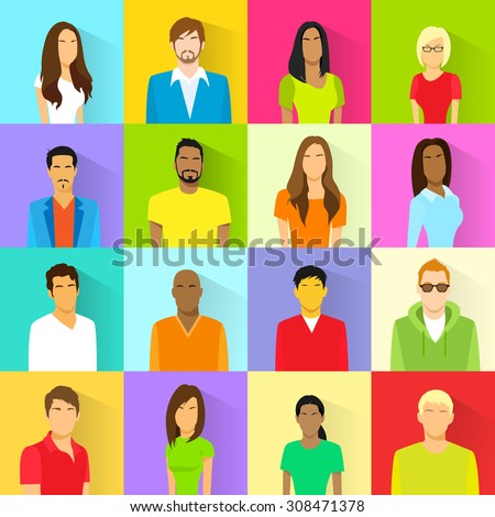 Profile Set Icon Avatar Mix Race Ethnic Man and Woman Portrait Casual Person Colorful Silhouette Face Flat Design Vector - stock vector