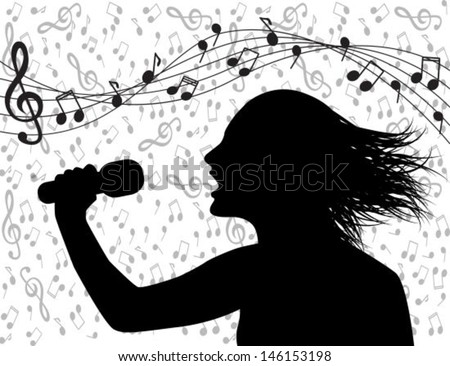 Profile silhouette of a man singing and musical lineup - stock vector