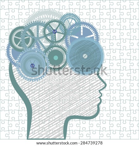 Profile with gears, scribble, and full puzzle background pattern  - stock vector