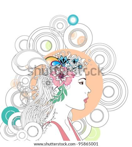 Profile woman illustration - stock vector