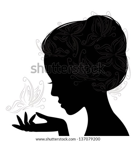 Profile woman silhouette with butterfly. Hand drawing illustration on white background. - stock vector