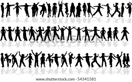 Profiles of a large collection of child - stock vector