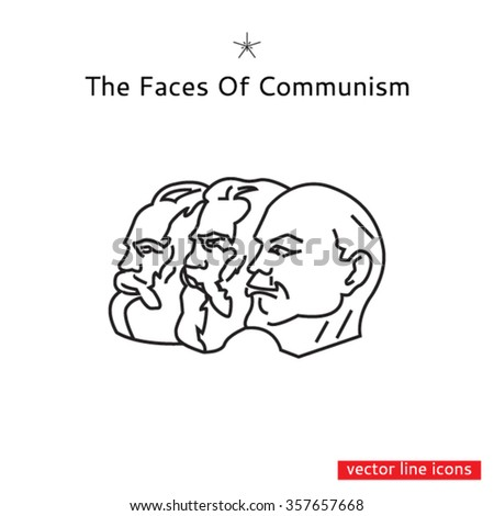 Profiles of Communist ideologists Karl Marx, Friedrich Engels, Vladimir Lenin - stock vector