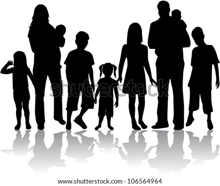 Profiles of large family - stock vector