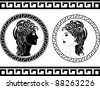 profiles of roman woman. stencil. vector illustration - stock vector