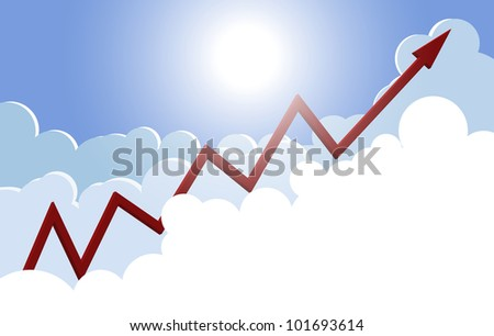 Profit graph rising in the sky above the clouds, EPS10 vector