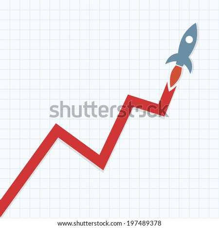 Profit Graph with Space rocket - stock vector