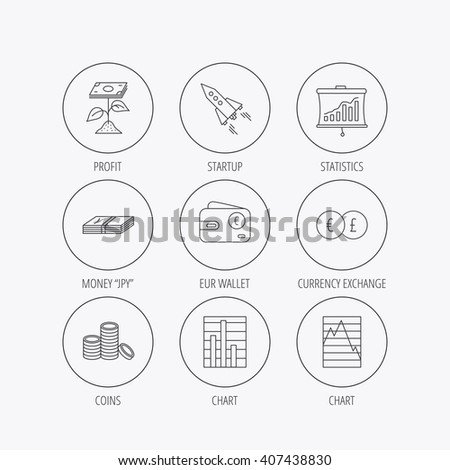 Profit investment, cash money and startup rocket icons. Wallet, currency exchange and euro linear signs. Chart, coins and statistics icons. Linear colored in circle edge icons. - stock vector