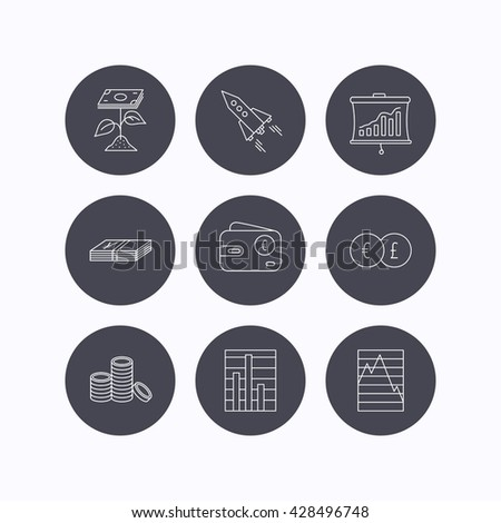 Profit investment, cash money and startup rocket icons. Wallet, currency exchange and euro linear signs. Chart, coins and statistics icons. Flat icons in circle buttons on white background. Vector - stock vector