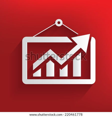 Profit symbol on red background,clean vector - stock vector