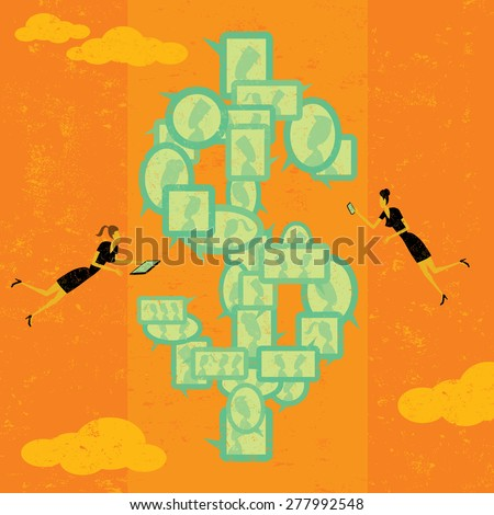 Profiting with Social Media Businesswomen with mobile devices make money with social media. The women & dollar symbol are on a separate labeled layer from the background.  - stock vector
