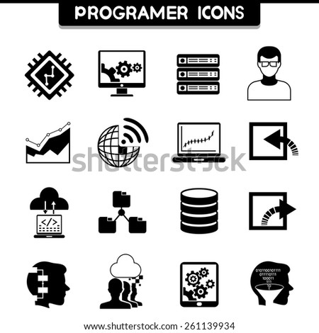 programer and software development coding icons - stock vector