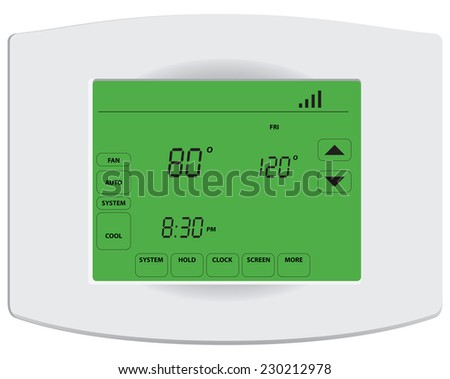 Programmable digital thermostat with touch screen and Wi-Fi.  - stock vector