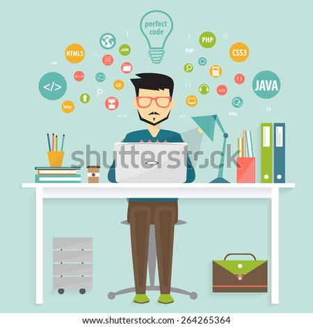 programmer and process coding,  programming concept - stock vector